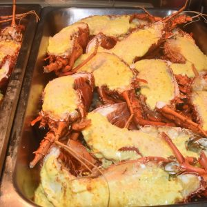 Crayfish dinner onboard the Eco Abrolhos