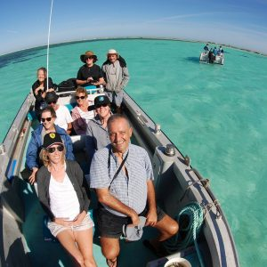 Eco Abrolhos Guests transiting the waters of teh Abrolhos Islands