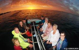 Sunset in the Glass Bottom Boat at the Abrolhos Islands